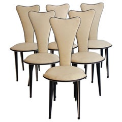 Set of Six Dining Chairs from the 1950s, Italian Design by Umberto Mascagni