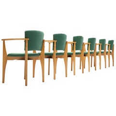 Set of Six Dining Chairs in Beech and Green Upholstery