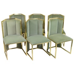 Set of Six Dining Chairs in Brass, Design by Romeo Rega, Italy, 1970