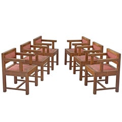 Set of Six Dining Chairs in Mahogany and Red Fabric Upholstery