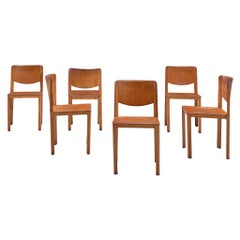 Set of Six Dining Chairs in Patinated Cognac Leather by Matteo Grassi