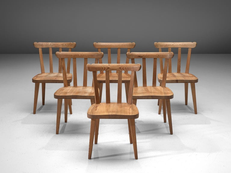 Mid-Century Modern Set of Six Dining Chairs in Pine for Nordiska Kompaniet Sweden For Sale