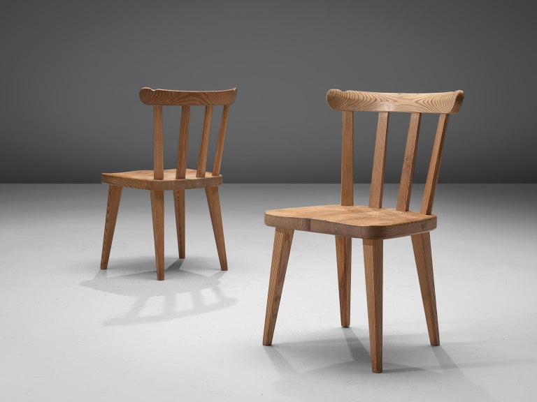 Swedish Set of Six Dining Chairs in Pine for Nordiska Kompaniet Sweden For Sale
