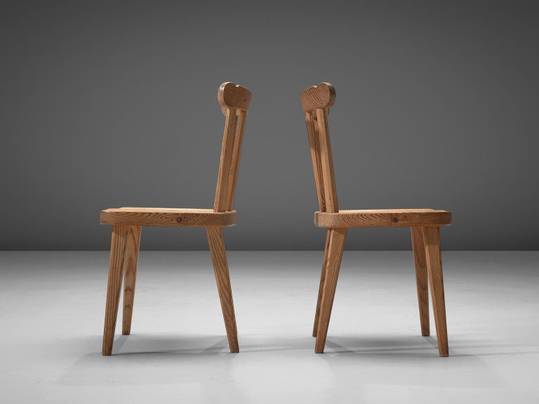 Set of Six Dining Chairs in Pine for Nordiska Kompaniet Sweden In Good Condition For Sale In Waalwijk, NL