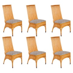 Set of Six Dining Chairs in Style of Gabriella Crespi, Italy, 1970s
