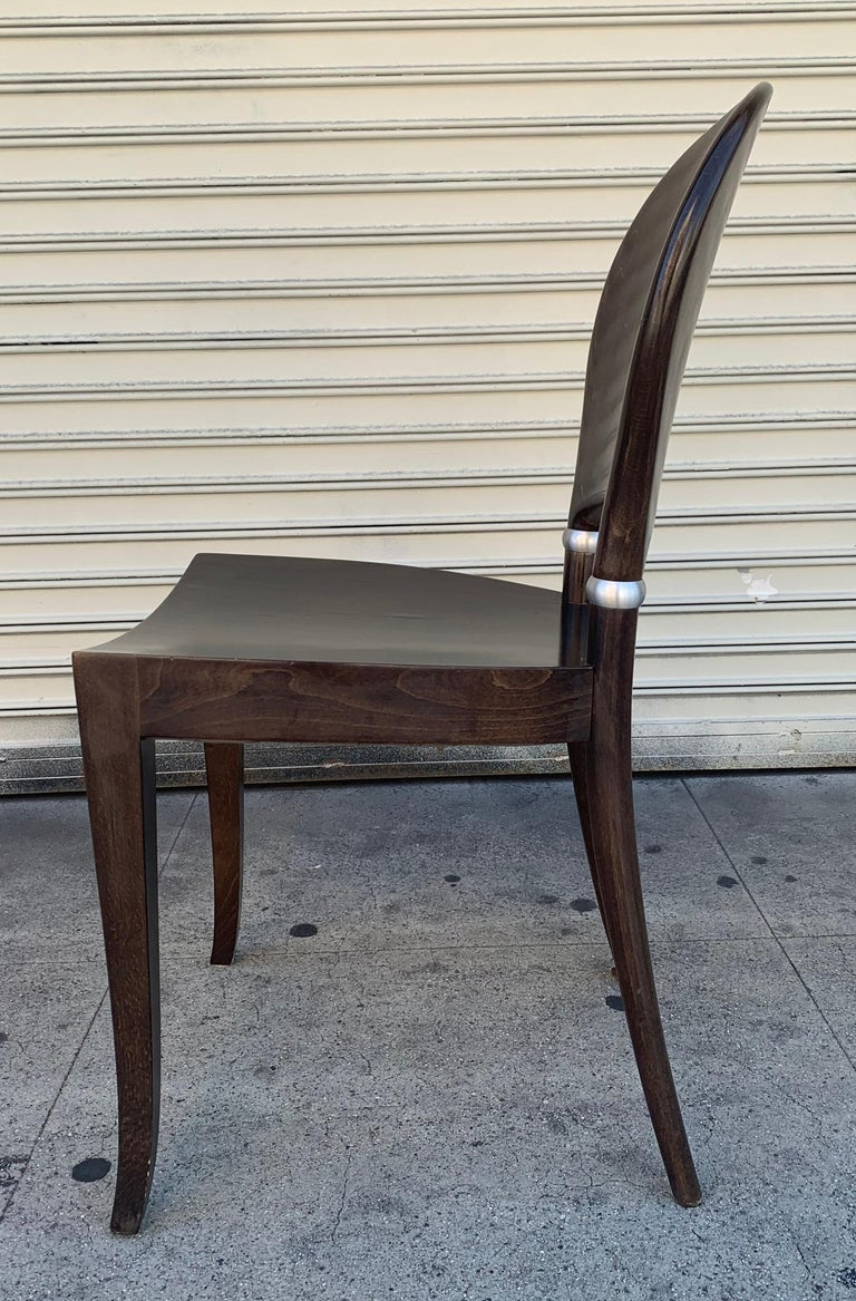 Nice set of six dining chairs designed and manufactured in Italy by Potocco Italy, The chairs are made of laminated wood with aluminum accents, the chairs are used and show wear with scratches in most of them, all chairs will need to be refinished
