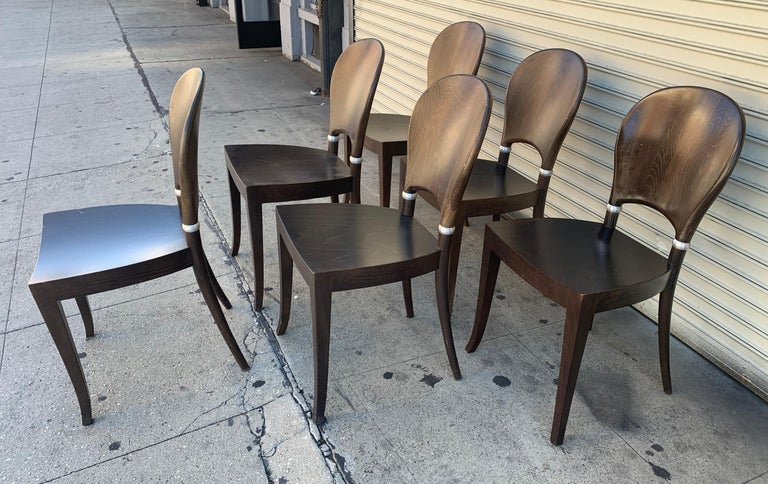 Contemporary Set of Six Dining Chairs Made in Italy Bu Potocco, Italy For Sale