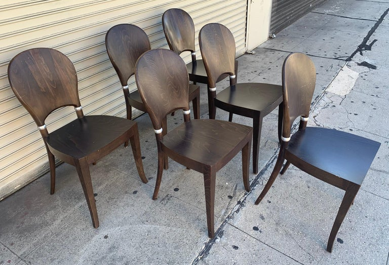 Aluminum Set of Six Dining Chairs Made in Italy Bu Potocco, Italy For Sale