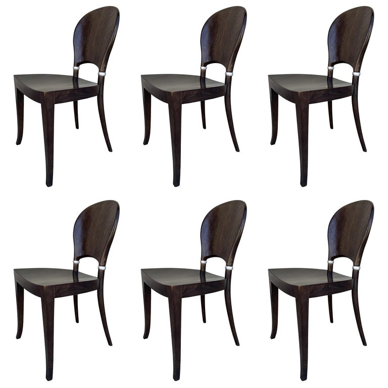 Set of Six Dining Chairs Made in Italy Bu Potocco, Italy For Sale