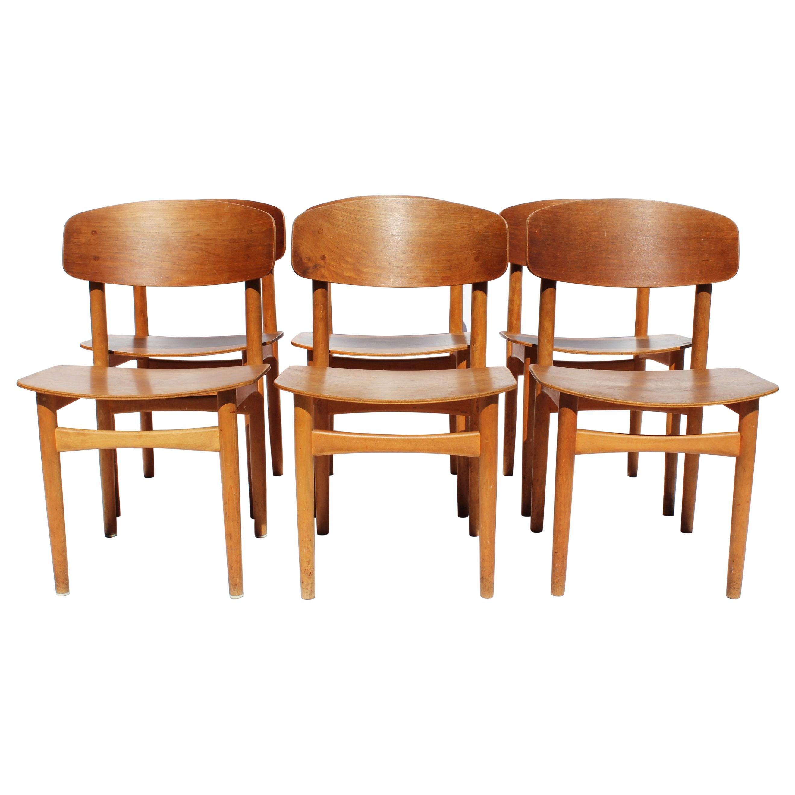 Set of Six Dining Chairs, Model 122 in Teak by Børge Mogensen, 1960s