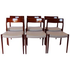 Set of Six Dining Chairs, model 77 in Teak by N.O. Møller 1960s