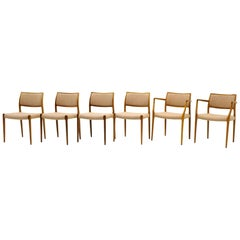 Set of Six Dining Chairs, Model 80 in Rosewood by N.O. Møller, 1960s, Excellent