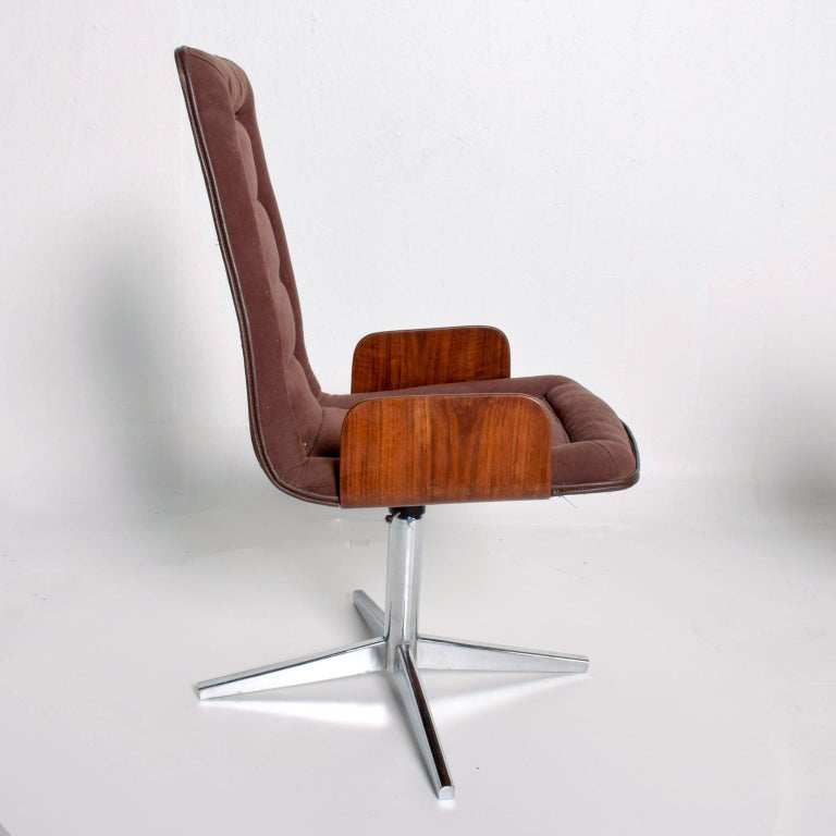 Mexican Sculptural Bent Walnut Plywood Dining Chairs Set of Six   Mid Century Modern
