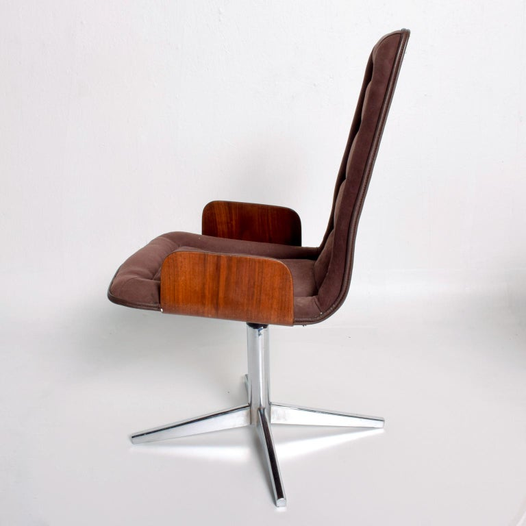 Sculptural Bent Walnut Plywood Dining Chairs Set of Six   Mid Century Modern 1