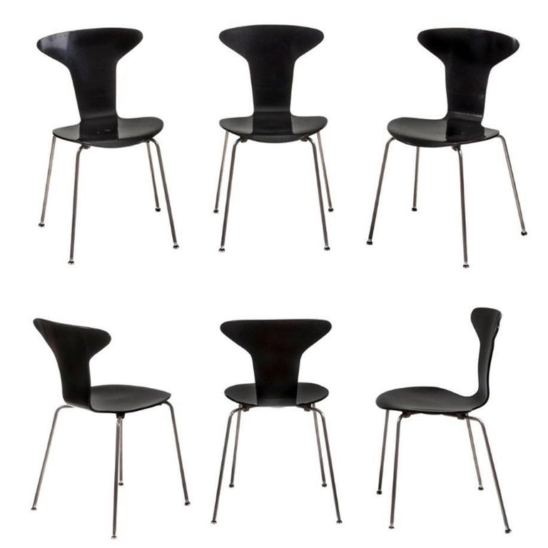 Set of Six Dining Chairs Steel and Wood, Arne Jacobsen for Fritz Hansen