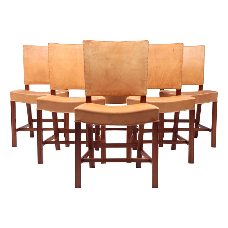 """Set of Six Dining Chairs """"The Red Chair"""" by Kaare Klint, Denmark, 1927 For Sale"""