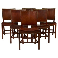 """Set of Six Dining Chairs """"the Red Chair"""" Designed by Kaare Klint"""
