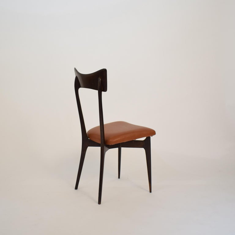 Set of Six Dining Chairs with Cognac Leather by Ico Parisi for Colombo, 1950 For Sale 6