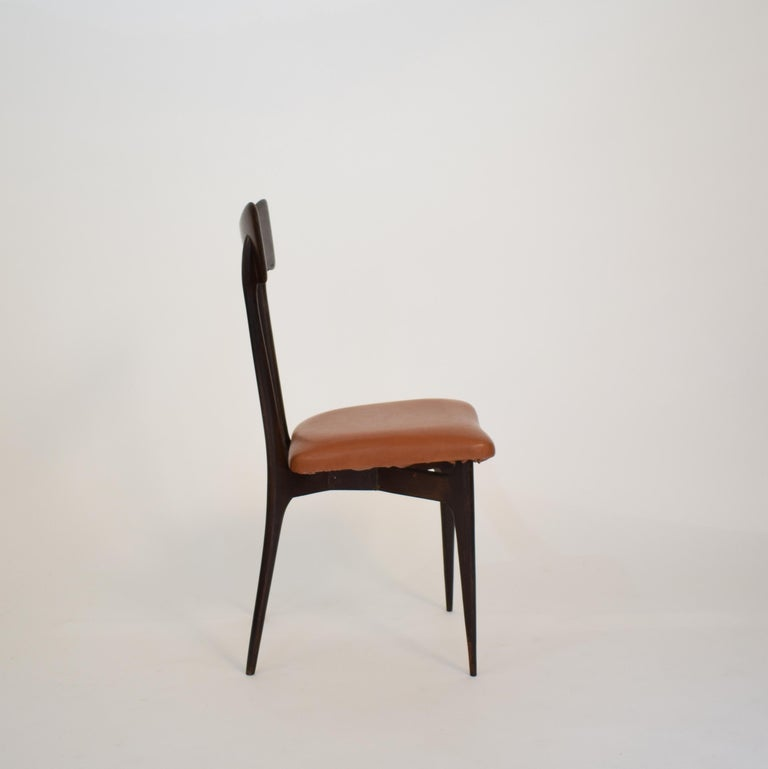 Set of Six Dining Chairs with Cognac Leather by Ico Parisi for Colombo, 1950 For Sale 7