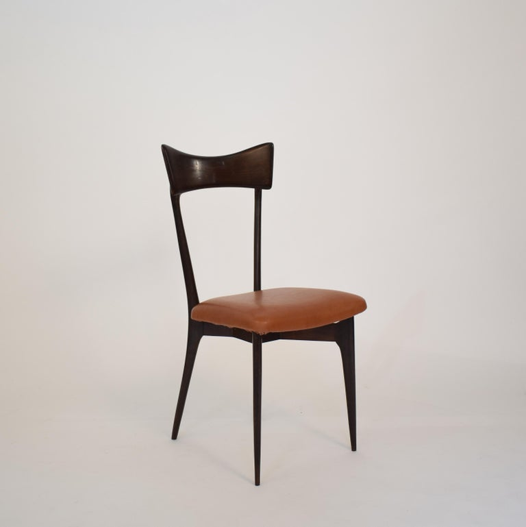 Set of Six Dining Chairs with Cognac Leather by Ico Parisi for Colombo, 1950 For Sale 8