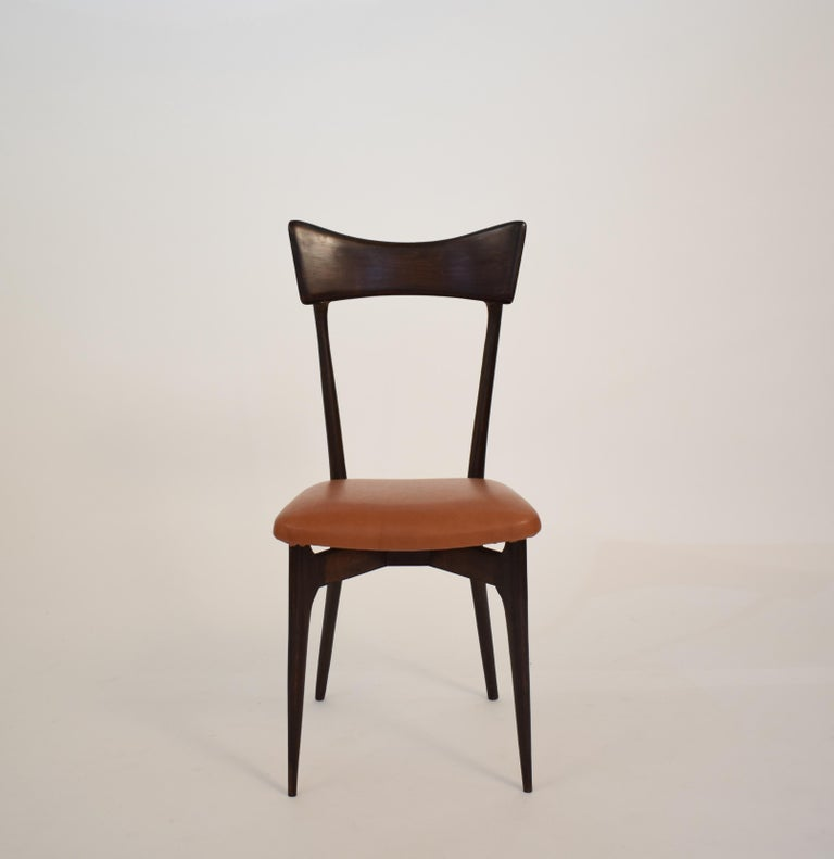 Italian Set of Six Dining Chairs with Cognac Leather by Ico Parisi for Colombo, 1950 For Sale