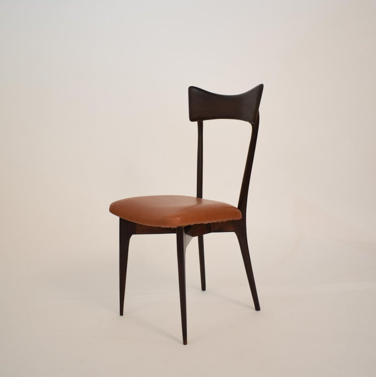 Set of Six Dining Chairs with Cognac Leather by Ico Parisi for Colombo, 1950 In Good Condition For Sale In Berlin, DE