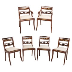 Set of Six Dining Room Chairs and Armchairs, Mahogany, Northern Germany
