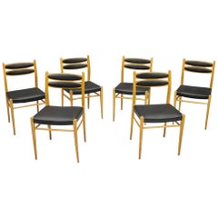 Set of Six Dining Room Chairs in Cherry Wood and Black Leather 60s