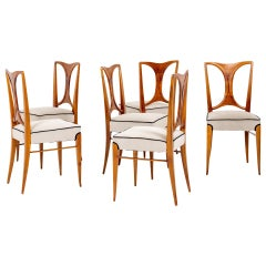 Set of Six Dining Room Chairs in the Style of Paolo Buffa Italy Mid-20th Century