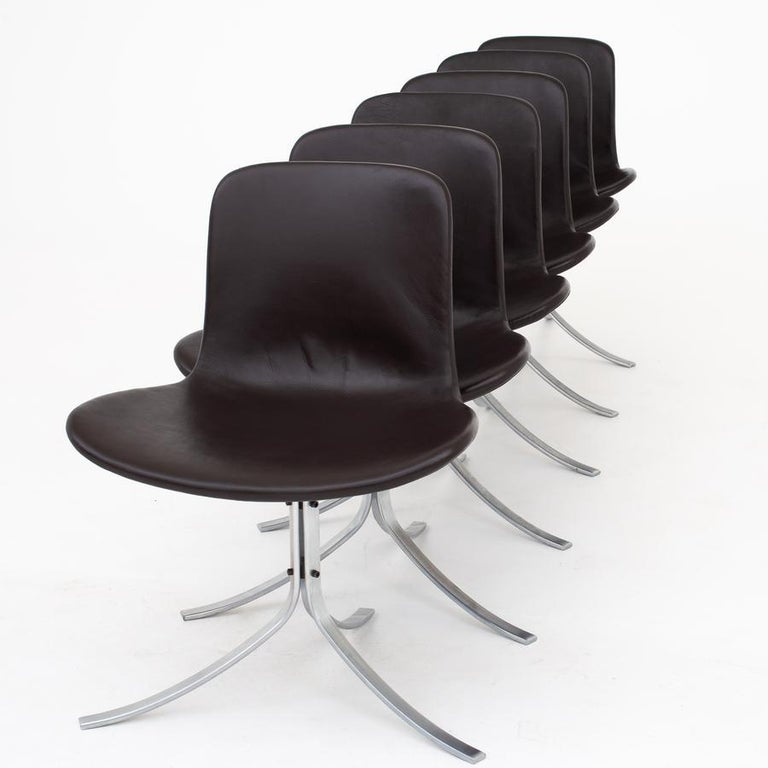 PK 9 - set of six 'Tulipan' dining chairs in brown semi-aniline leather on a steel frame. Designed in 1960. Maker Fritz Hansen.