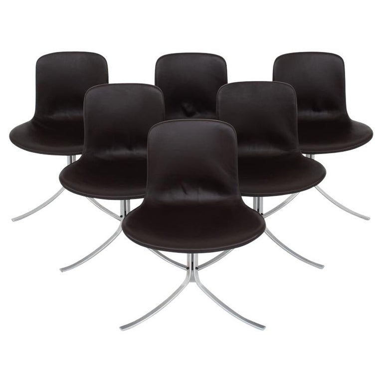 Set of Six Dining Chairs by Poul Kjærholm For Sale