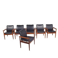 Set of Six Diplomat Armchairs by Finn Juhl for France & Son