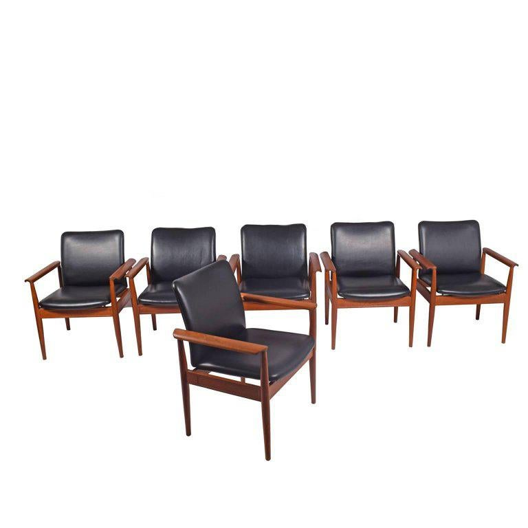 Set of Six Diplomat Armchairs by Finn Juhl for France & Son For Sale
