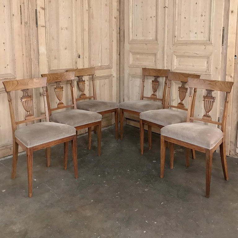 Gustavian Set of Six 18th Century Neoclassical Swedish Dining Chairs For Sale