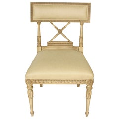 Set of Six Directoire Style Cream Dining Chairs with Upholstered Seat