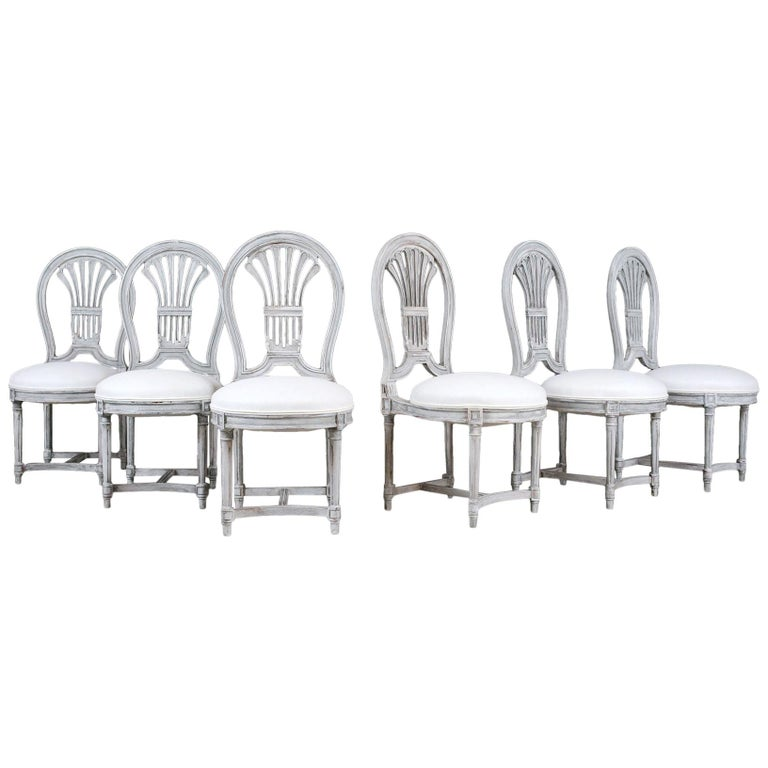 Set of Six Distressed Finish Regency Style Dining Chairs For Sale