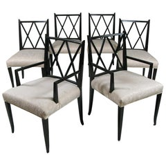 Set of Six 'Double X' Dining Chairs by Tommi Parzinger for Parzinger Originals