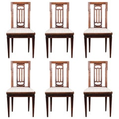 Set of Six Dutch 19th Century Walnut Dining Chairs
