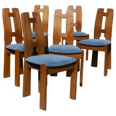Set of Six Dutch Modernist Dining Chairs in Ash