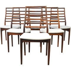 Set of Six Dyrlund Rosewood Ladder Back Dining Chairs