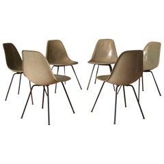 Set of Six Eames First Generation Seafoam Green Fiberglass DSX Dining Chairs