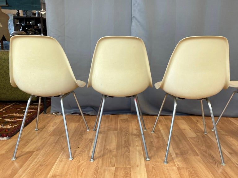 Set of Six Eames for Herman Miller DSX and DSG Side Chairs in Parchment, 1959 For Sale 2