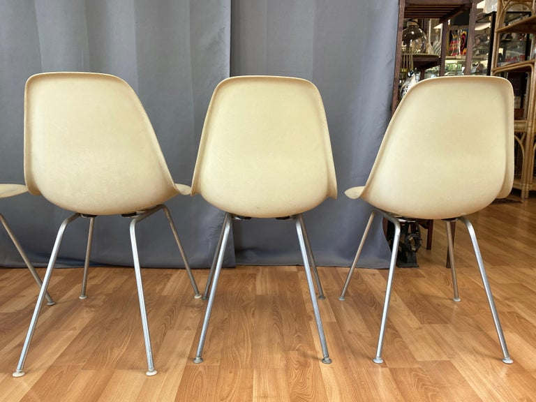 Set of Six Eames for Herman Miller DSX and DSG Side Chairs in Parchment, 1959 For Sale 3