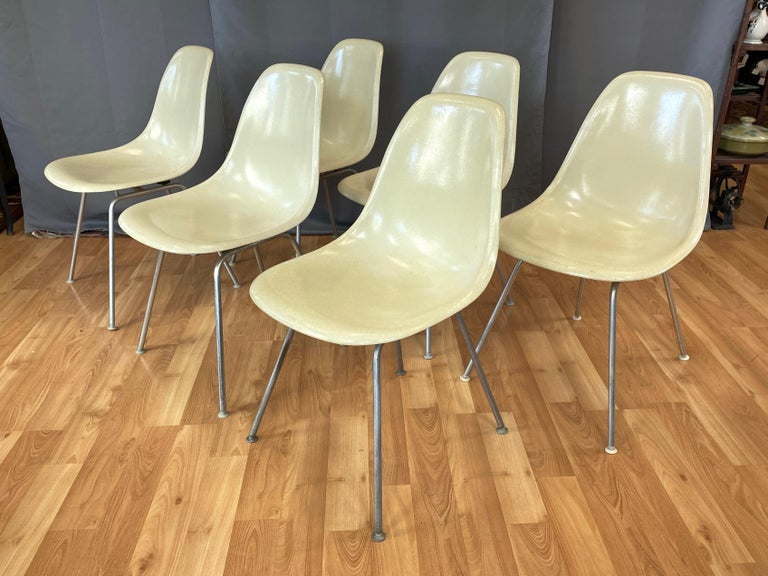 Molded Set of Six Eames for Herman Miller DSX and DSG Side Chairs in Parchment, 1959 For Sale