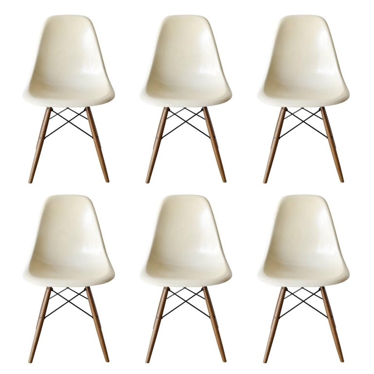 Set of Six Eames Parchment DSW Herman Miller, USA Dining Chairs