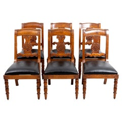 Set of Six Early 19th Century Burled Walnut Dining Chairs