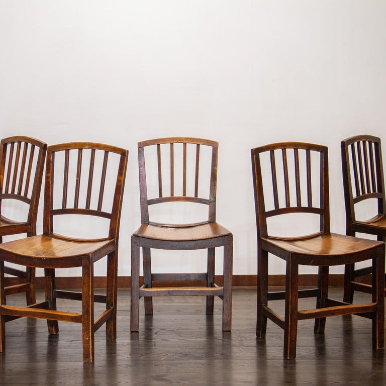 Set of Six Early 19th Century Elm Dining Chairs For Sale 1