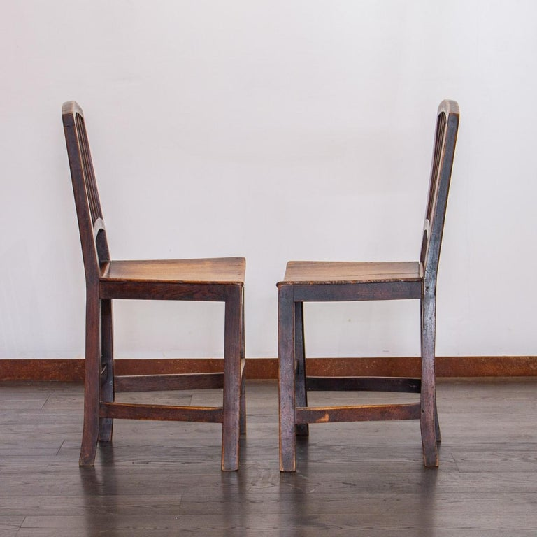 Set of Six Early 19th Century Elm Dining Chairs For Sale 4