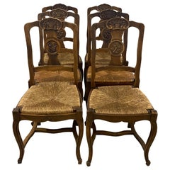 Set of Six Early 20th Century French Country Side Chairs with Rush Seats