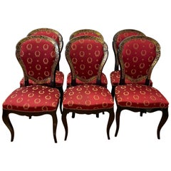 Set of Six Early 20th Century Louis XV Style Faux Boulle Inlaid Dining Chairs